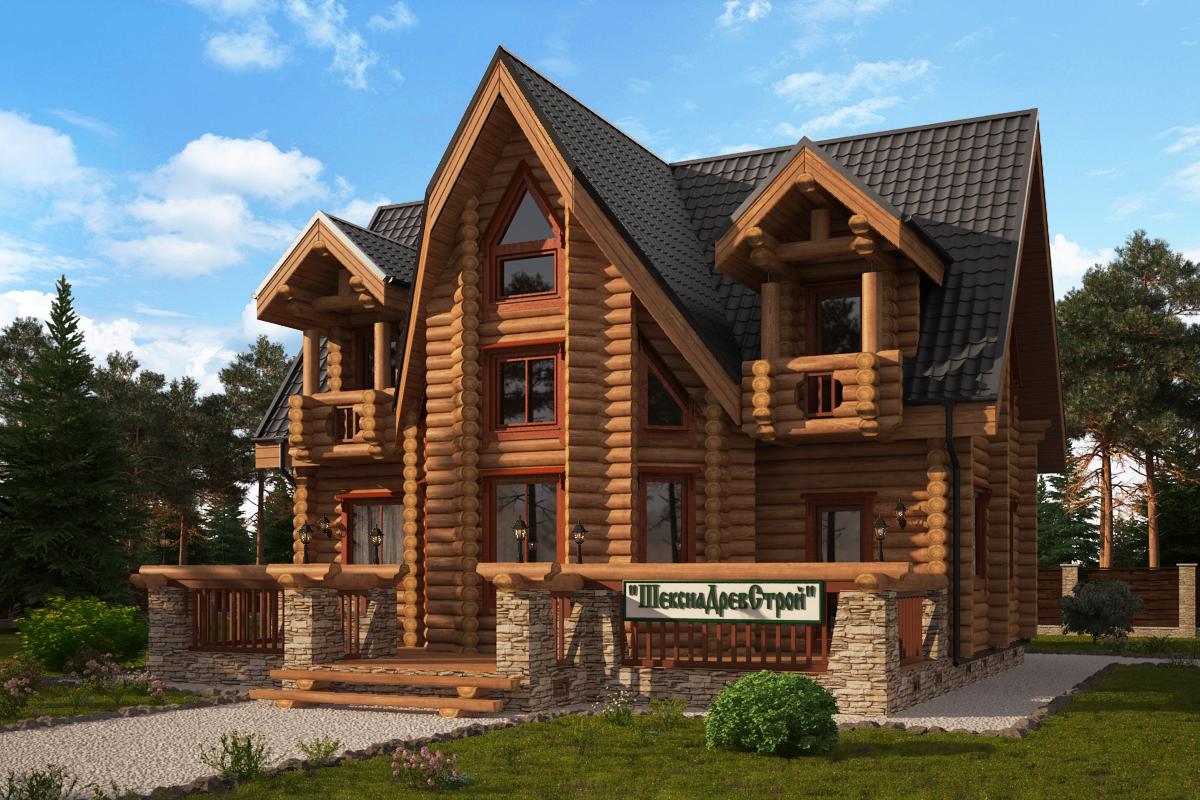 красивые дома из бревна фото и проект уникальный сделаем вашему